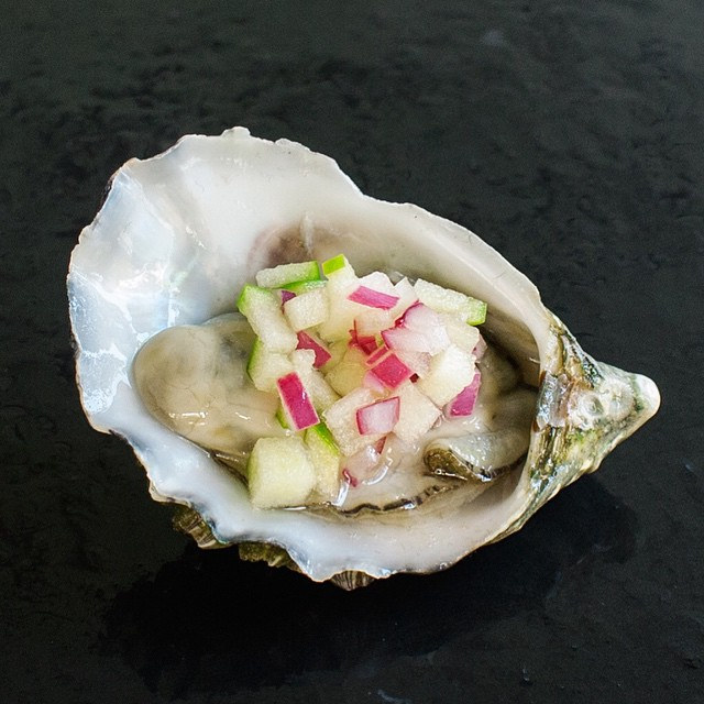 Oysters With Apple And Red Onion Mignonette