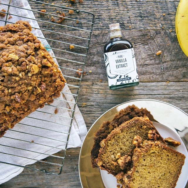 Walnut Struesel Banana Bread Coffee Cake