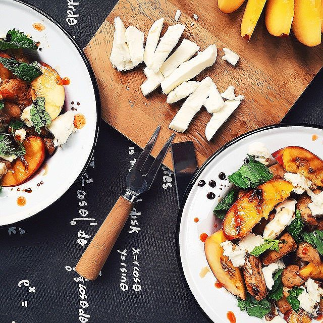 Grilled Nectarine Salad With Lemon Chicken, Mozzarella And Mint