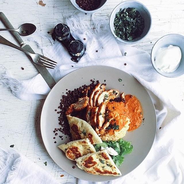 Tandoori Indian Butter Chicken, Brown Basmati Rice With Black Beluga Lentils & Naan