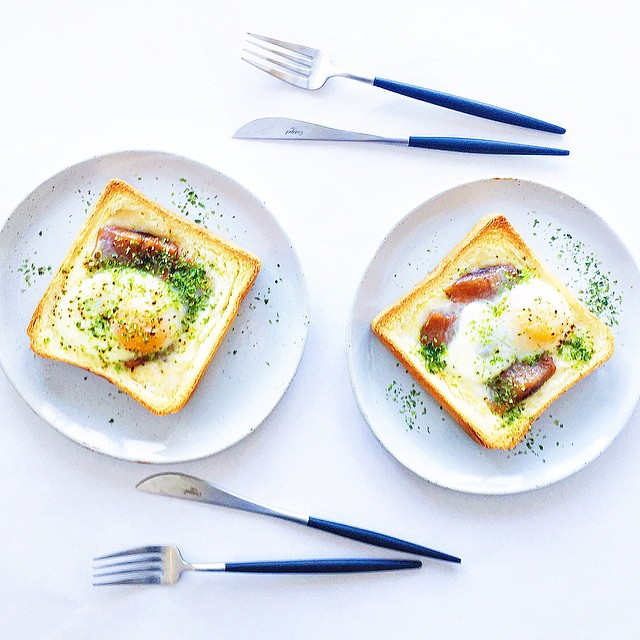 Egg in a hole with seaweed and herring thefeedfeed for Japanese fish eggs