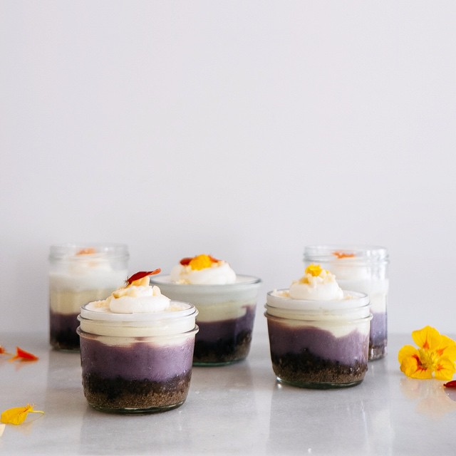 Ube Coconut Pudding Cheesecakes