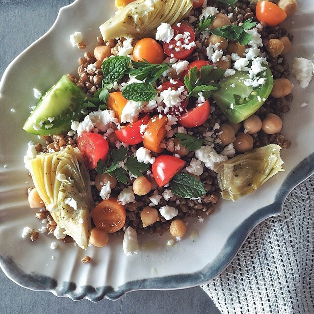 Za'atar Wheat Berry Salad With Tomato, Artichokes, & Feta