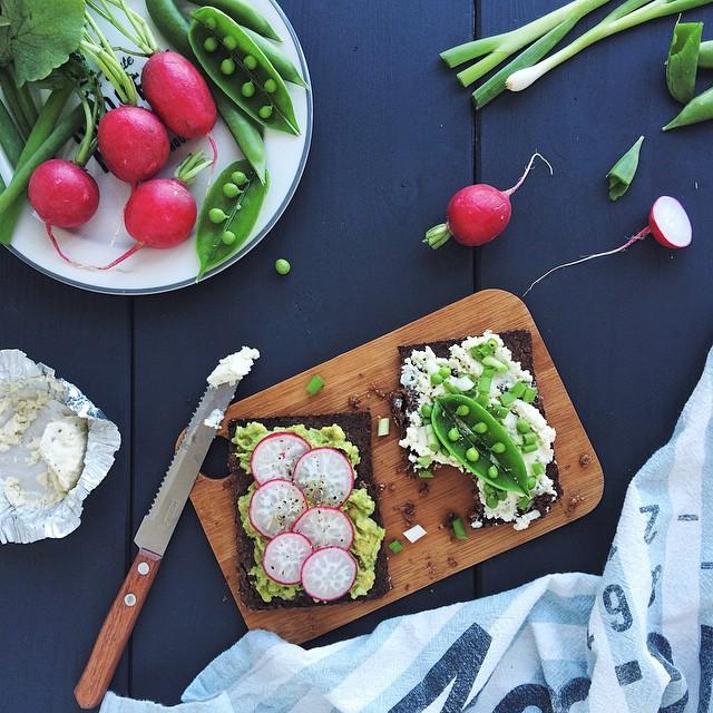 Avocado, Radish, Cream Cheese, Spring Onions & Sugar Pea Toast