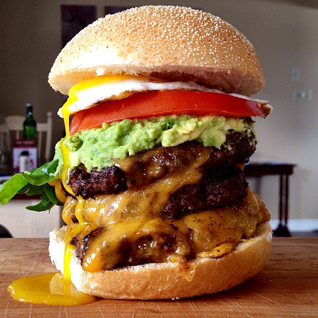 Double Burger With Fried Egg And Avocado