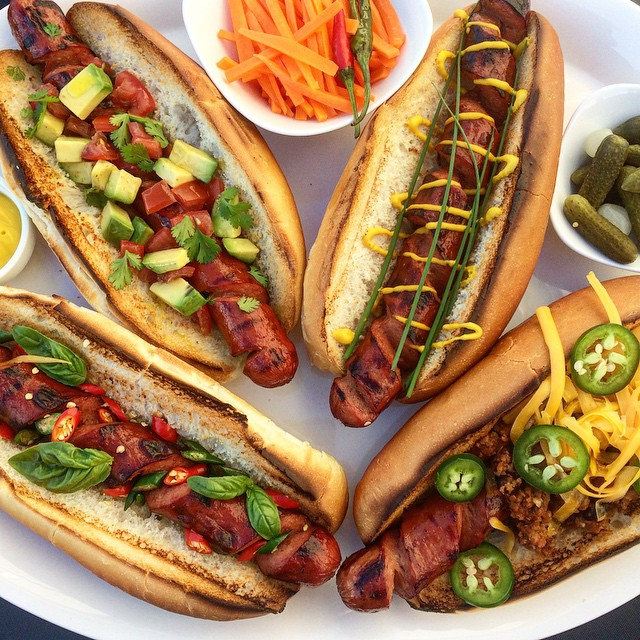 Grilled Spiralized Hot Dogs