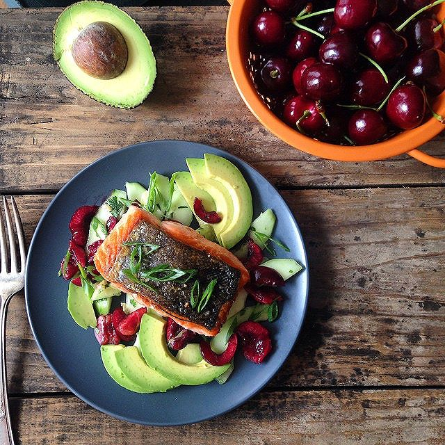 Salmon With Cucumber, Preserved Lemon, Avocado And Cherry Salad