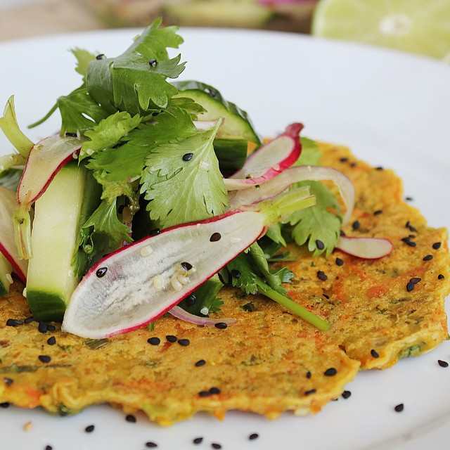 Asian Green Onion Pancakes With Sesame Cucumber Salad