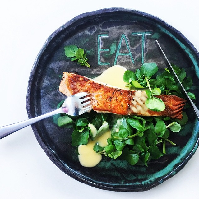 Pan-seared Salmon With White Wine, Watercress & Beurre Blanc