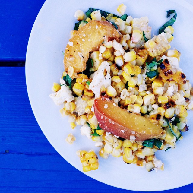 Feta Tossed Grilled Peaches & Corn Salad