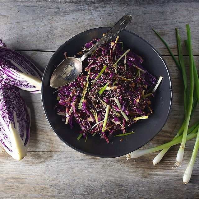 Red Cabbage Salad With Spicy Miso Ginger Vinaigrette