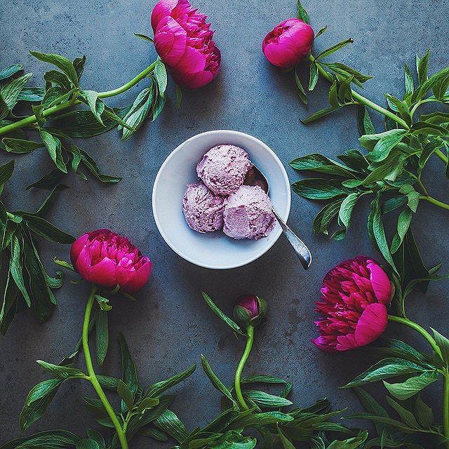 Peonies And Vegan Raspberry Cashew Ice Cream