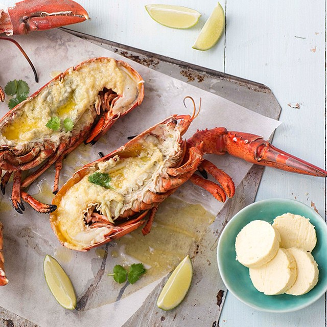 Grilled Lobsters With Ginger Butter