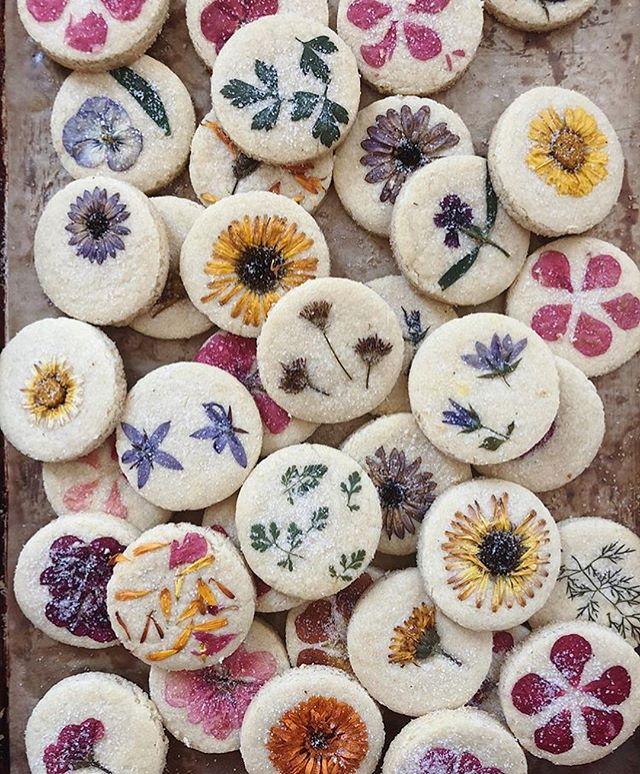 Edible Flower Pressed Shortbread Cookies