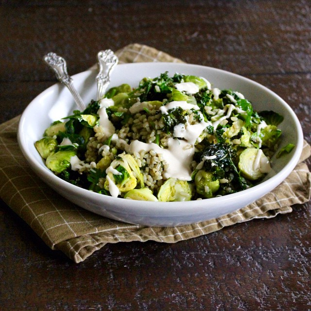 Green Rice And Roasted Brussels Sprout Salad With Tahini Dressing