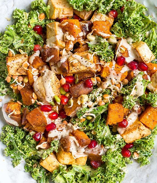 Roasted Sweet Potato And Tofu Kale Salad