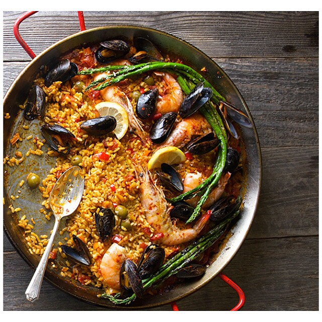 Grilled Seafood Paella With Manzanilla Olives, Mussels & Shrimp