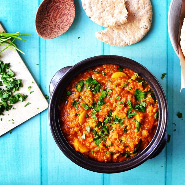 Red Lentil, Spinach And Potato Curry