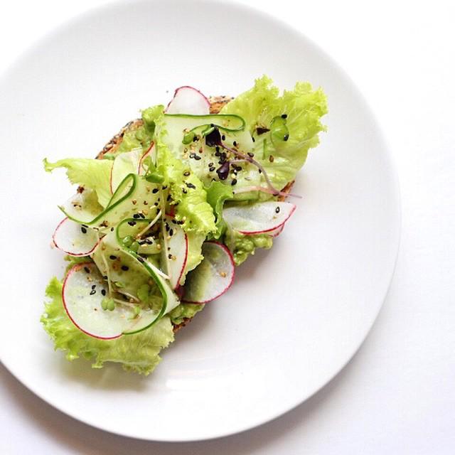 Avocado, Radish, Cucumber, Lettuce, Micro-greens, Sesame Seed Rye Toast