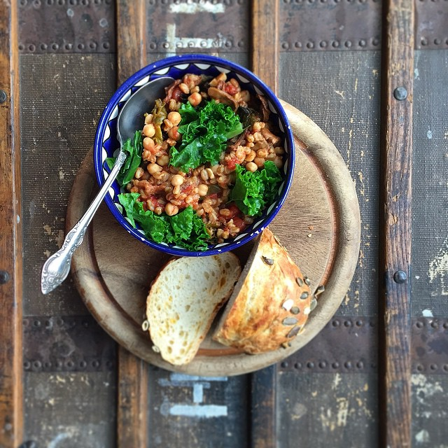 Farro, Chickpea, Mushroom, & Kale Stew With Rosemary & Thyme
