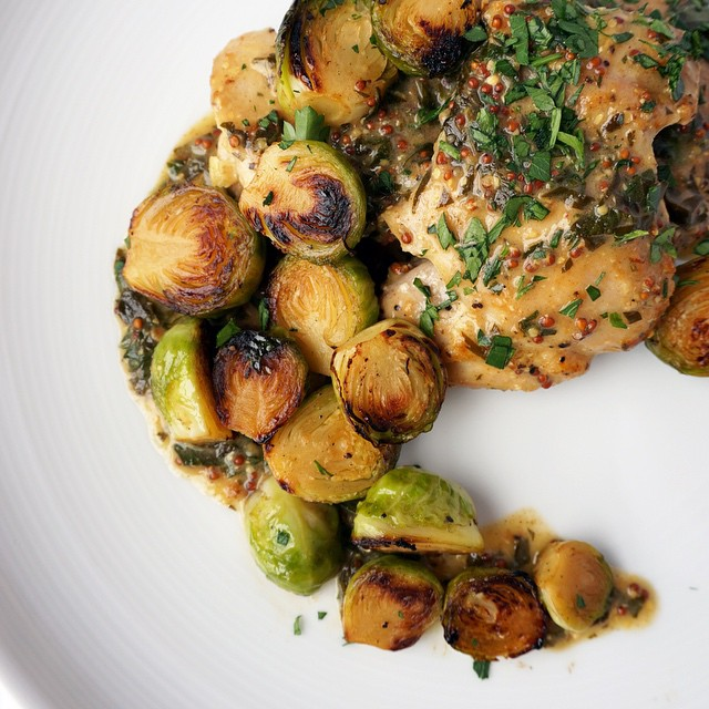 Chicken And Brussels Sprouts With Mustard Sauce