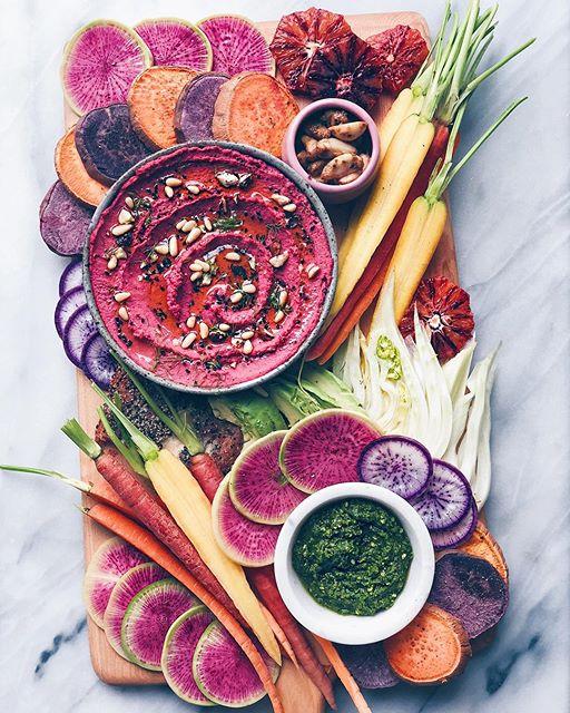 Beet Hummus And Veggie Platter