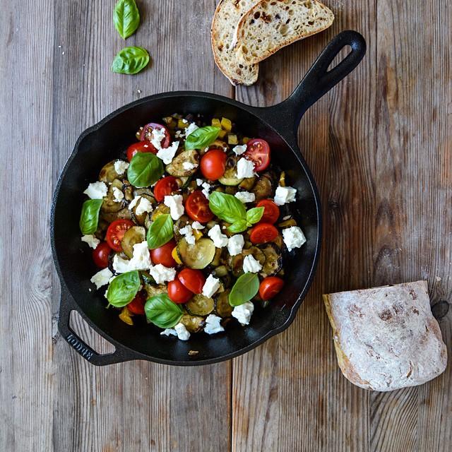 Mediterranean Roast Vegetables With Tomatoes, Feta, Garlic And Basil