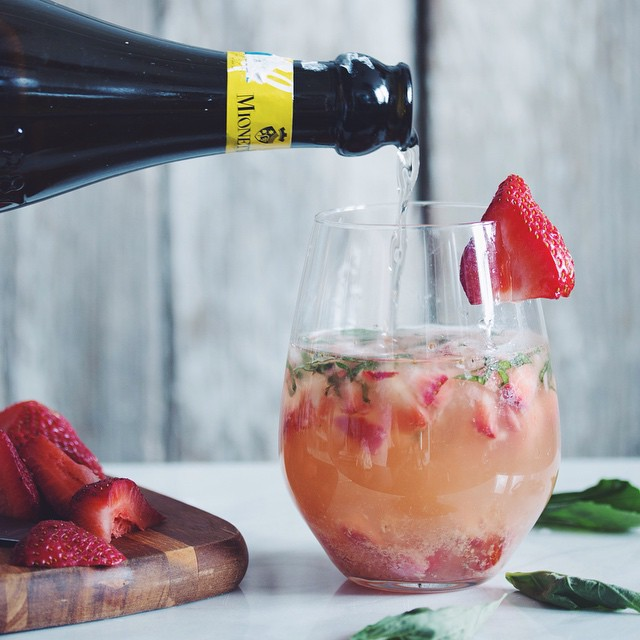Strawberry & Ginger Prosecco Cocktails With Basil