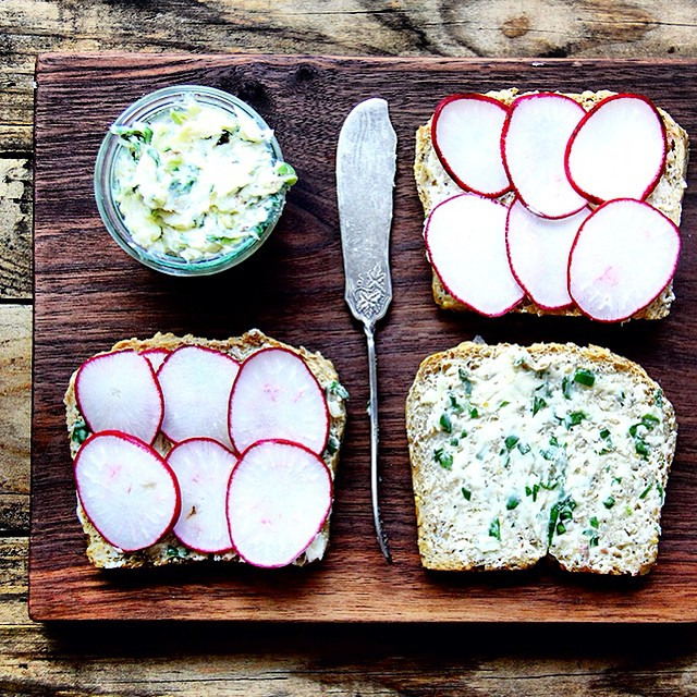 Homemade Anchovy Butter Toasts With Radishes