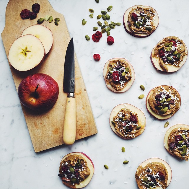 Apple Slices With Homemade Nut Butter, Coconut, Pumpkin Seeds, Cacao Nibs, & Unsweetened Cranberries