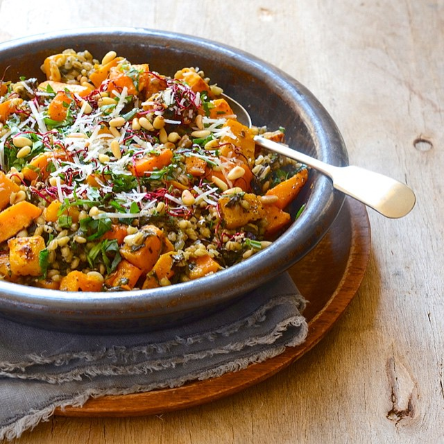 Roasted Butternut Squash & Barley White Wine Risotto