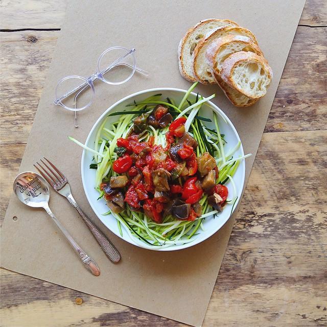 Zucchini Alla Norma With Kale, Spinach & Oregano