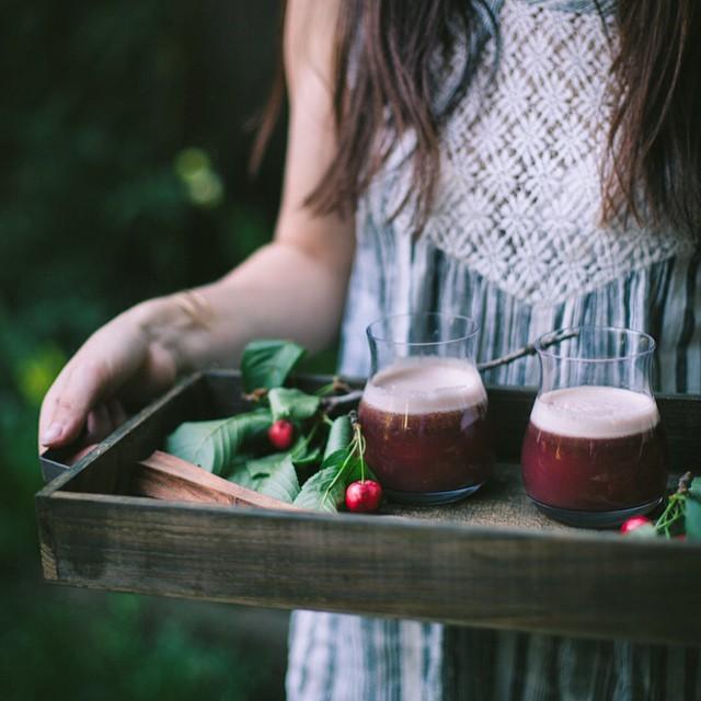 Black Cherry & Tarragon Shrub Cocktails