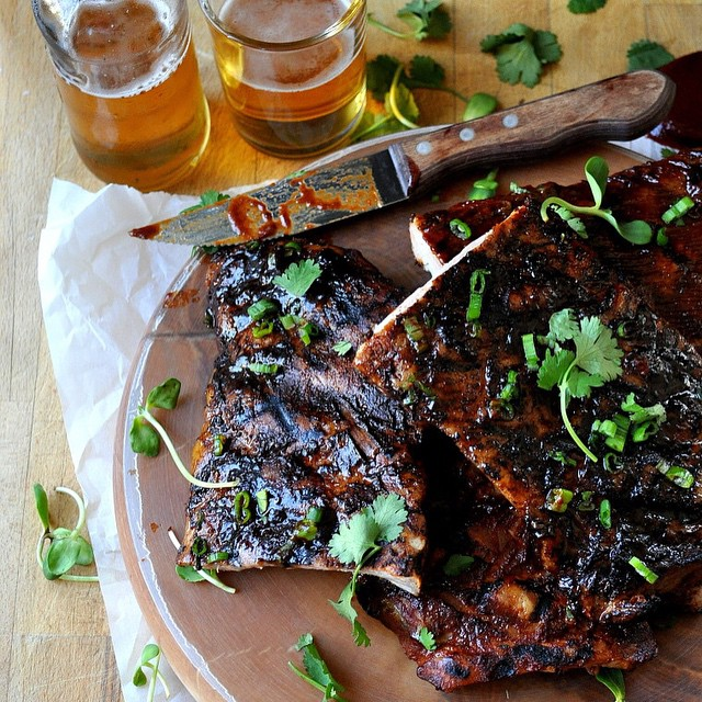 Ribs Two Ways With Harissa Bbq Sauce And Traditional Bbq Sauce