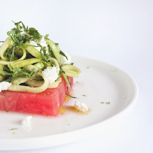 Zucchini Noodle & Watermelon Salad With Lime, Chèvre & Mint