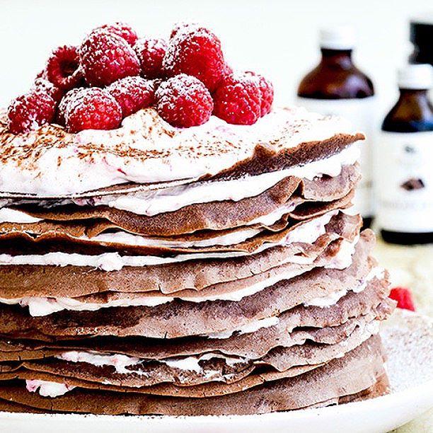 Chocolate Crepe Cake With Raspberry Cream