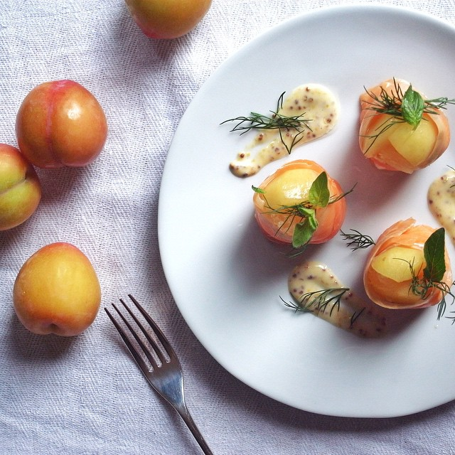 Smoked Salmon, Plums, Lemon, Dill, Soy-mayo, Honey &  Mustard