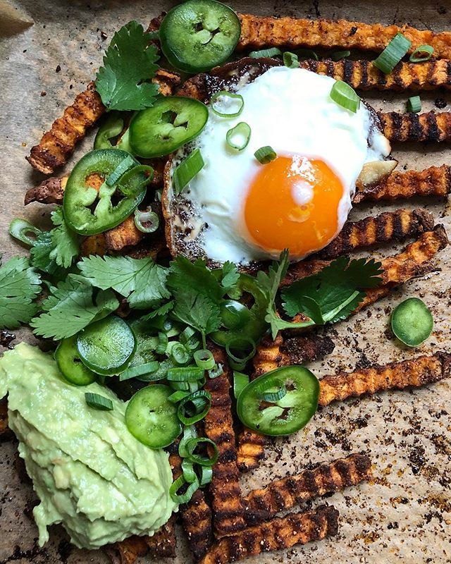 Sweet Potato Fries With Avocado And A Fried Egg