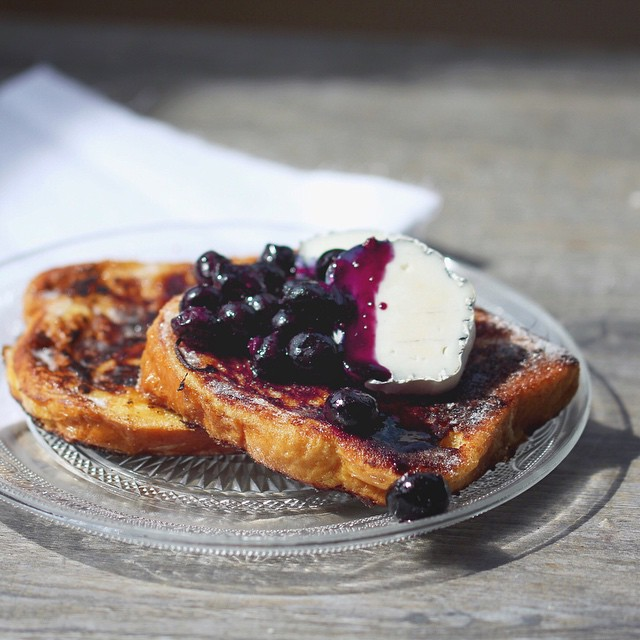 Brioche French Toast With A Bruléed Crust, Goat Cheese And Blueberries