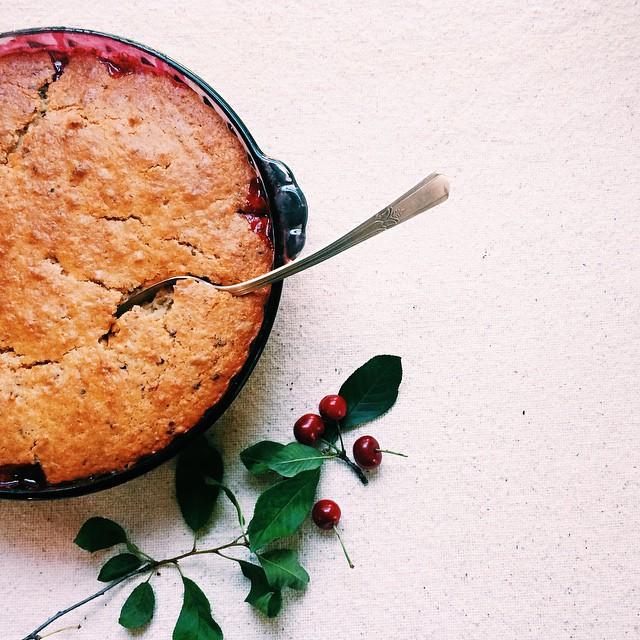 Sour Cherry Spoon Cake (vegan, Gluten Free)