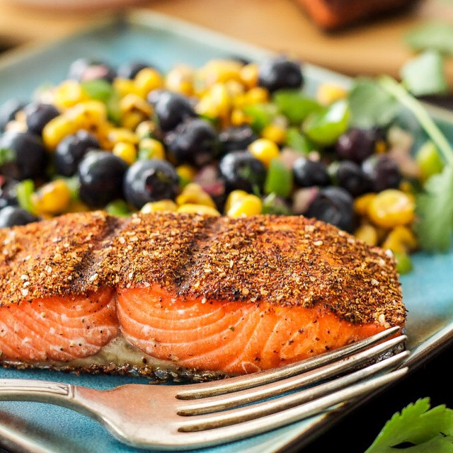Spiced Grilled Salmon With Blueberry And Corn Salsa