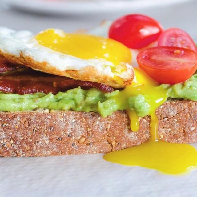 Breakfast Toast With Avocado, Bacon, And Eggs