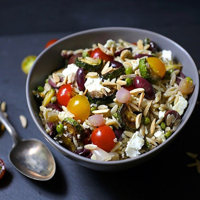 Zucchini Orzo Salad With Tomato, Olives & Toasted Almonds