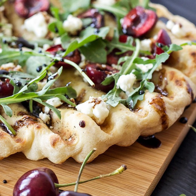 Grilled Cherry Balsamic Pizza With Goat Cheese & Arugula