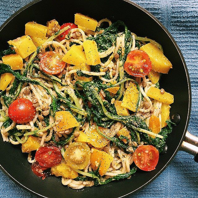 Quinoa & Lentil Spaghetti With  Dandelion Greens & Golden Beets Topped With Tomatoes & Pistachio