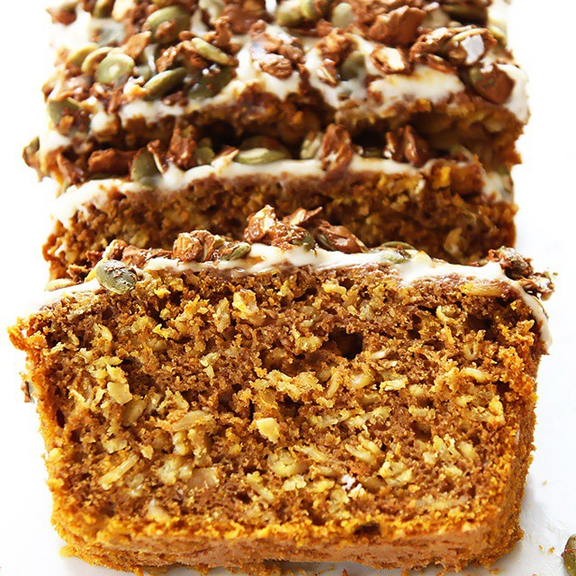 Pumpkin Oat Loaf With Pepita Praline Crunch & Cream Cheese Frosting