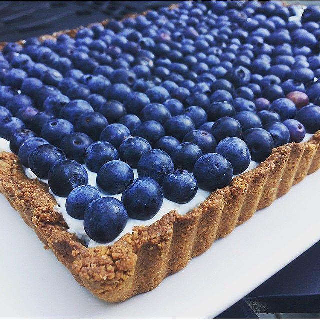 Honeyed Yogurt And Blueberry Tart With Graham Cracker Ginger Crust
