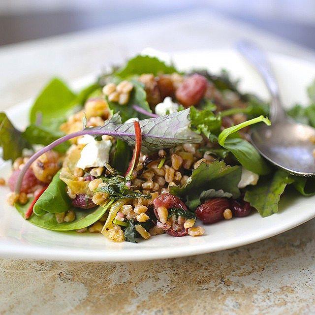 Grape Farro Salad With Baby Kale & Marcona Almonds