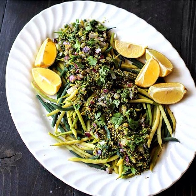 Cilantro Green Beans With Red Onion & Pistachios