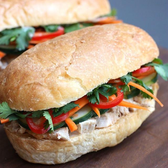 Vietnamese Chicken Sandwich With Sriracha, Carrot & Cucumber